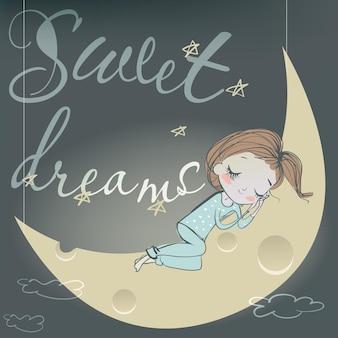 Menina fofa de desenho animado dormindo na lua