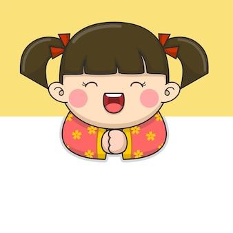 Menina fofa do ano novo chinês com cabelo amarrado