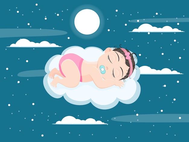 Menina fofa dormindo em uma nuvem voadora no céu com a luz da lua no lindo céu