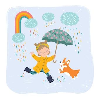 Menina fofa em uma capa de chuva amarela com ilustração de guarda-chuva de uma menina com cachorro aproveitando a ilustração de dia chuvoso