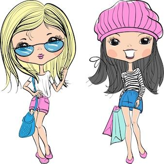 Menina fofa hippie com chapéu e óculos escuros com compras
