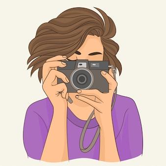 Menina, fotógrafo, com, câmera