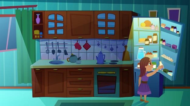 Menina, garrafa levando, de, leite, de, refrigerador, ligado, cozinha