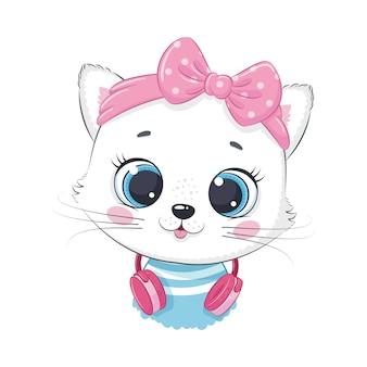 Menina gatinho bonito dos desenhos animados com fones de ouvido ouve música