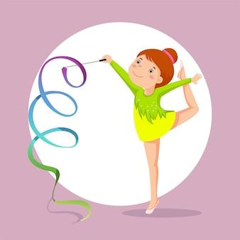 Menina ginasta se apresentando com fita