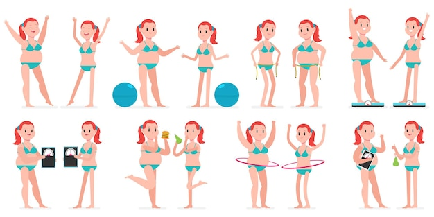 Menina gorda e magra com hule hoop, bola de fitness, fita métrica, em escalas de peso.