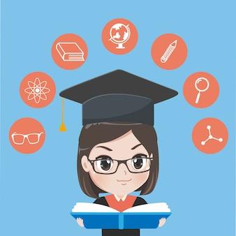 Menina graduada lê livro.