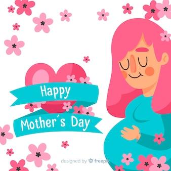 Menina grávida, dia, mãe, fundo