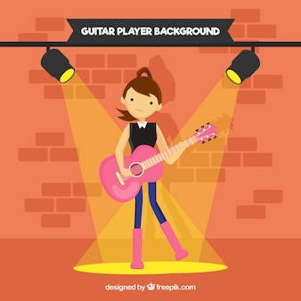 Menina, guitarrista, fundo, liso, desenho