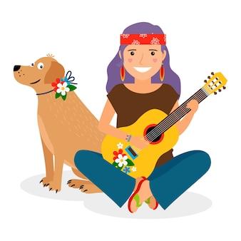 Menina hippie com guitarra e cachorro