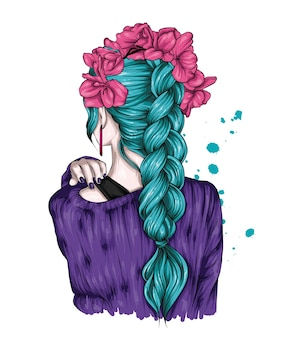 Menina hippie com um lindo suéter e um penteado estiloso com tranças