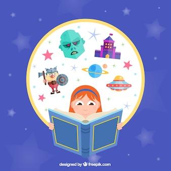 Menina imaginativa lendo um livro