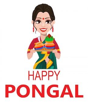 Menina indiana com dois potes, cartão pongal,