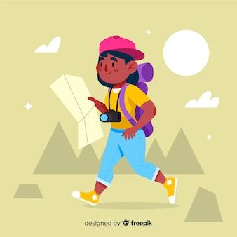 Menina indo em uma viagem