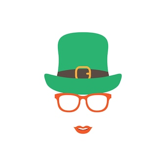 Menina irlandesa com chapéu verde e óculos laranja