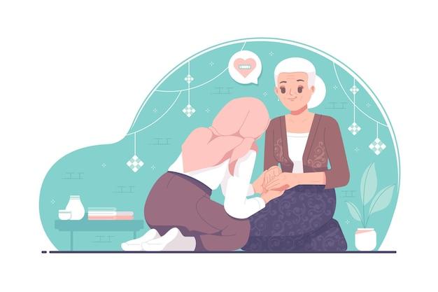 Menina islâmica eid mubarak, tradição que perdoa