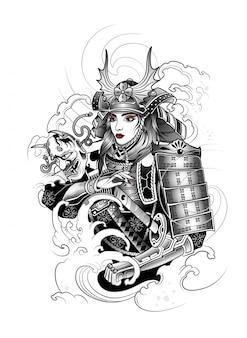 Menina japonesa samurai em traje de guerra