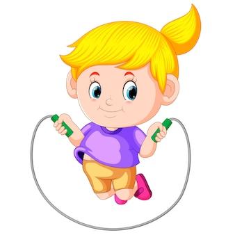 Menina joga pulando