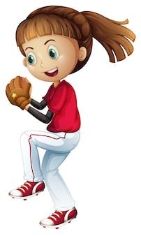 Menina jogando beisebol prestes a arremessar