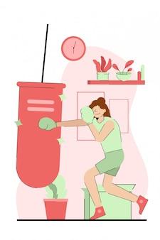 Menina jogando boxe