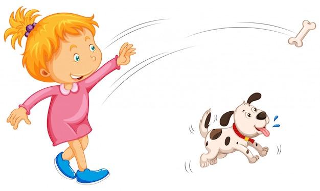 Menina jogando osso e cachorro pegando