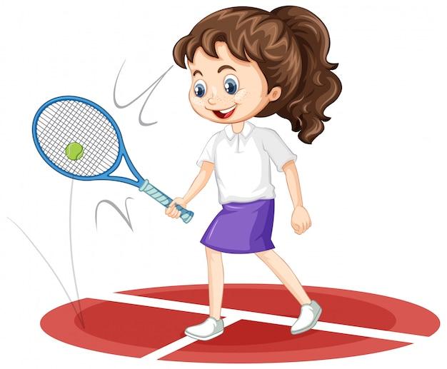 Menina jogando tênis