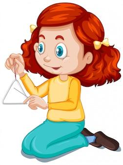 Menina jogando triângulo