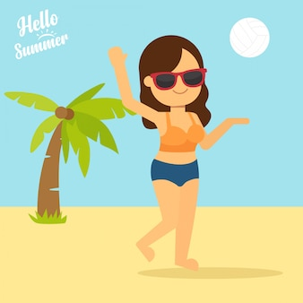Menina, jogando voleibol, em, litoral, litoral tropical, ilustração mulher, jogue bola, em, praia
