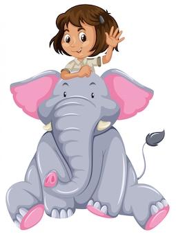 Menina jovem, e, elefante
