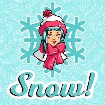 Menina jovem, em, roupas inverno