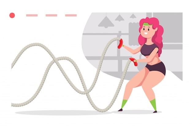 Menina jovem fazendo exercícios com corda de batalha. personagem de desenho animado mulher envolvida em exercícios. ilustração em vetor fitness.