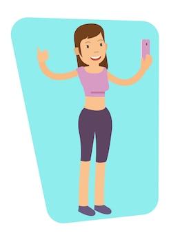 Menina jovem, fazendo, selfie, após, malhação