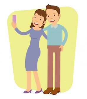 Menina jovem, fazendo, selfie, com, dela, namorado
