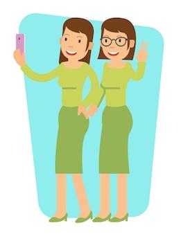 Menina jovem, fazendo, selfie, com, seu, irmão