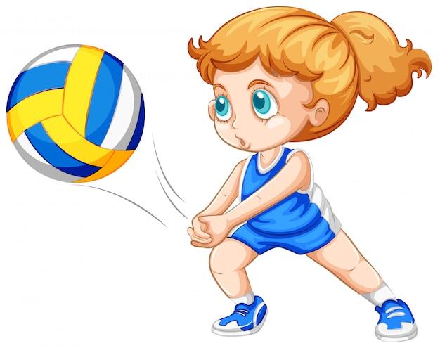 Menina jovem, jogando voleibol