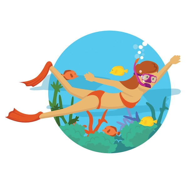 Menina jovem, mergulhar, sob, a, oceânicos