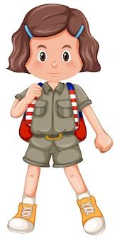Menina jovem morena safari