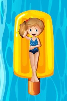 Menina jovem, relaxante, ligado, popsicle, inflável