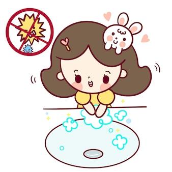Menina, lavando, mãos, criança, caricatura, anti, bactérias