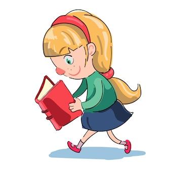 Menina, leitura, enquanto, andar
