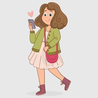 Menina, leitura, mensagens, em, dela, cellphone