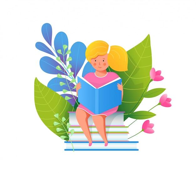 Menina lendo livro ilustração plana