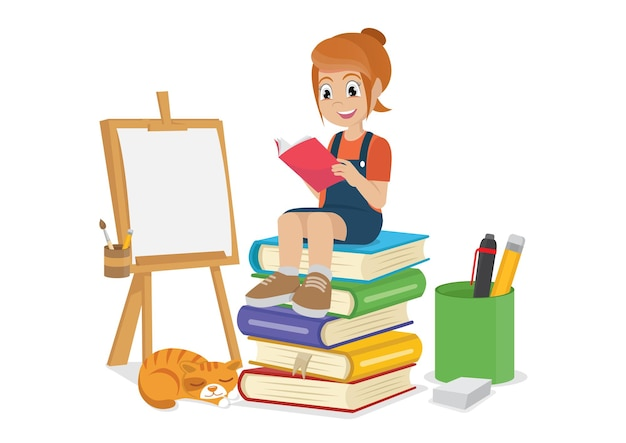 Menina lendo livros vetor eps10
