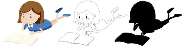 Menina lendo o livro com seu contorno e silhueta