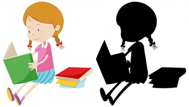 Menina lendo o livro com sua silhueta