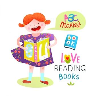 Menina lendo um livro feliz estudando