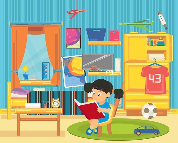 Menina lendo um livro na sala de jogos.
