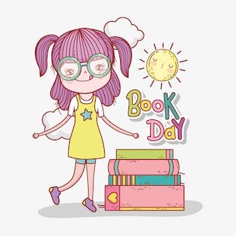 Menina ler informações de livros para aprender