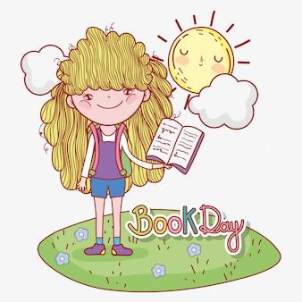 Menina ler informações do livro com sol e nuvem