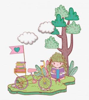 Menina, ler, livro, com, bicicleta, e, árvore